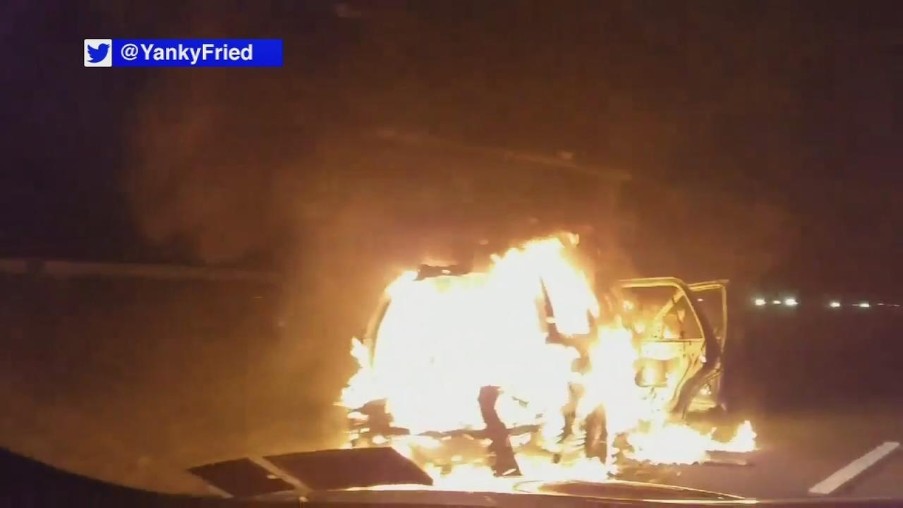 Raw: Fireworks ignite inside SUV