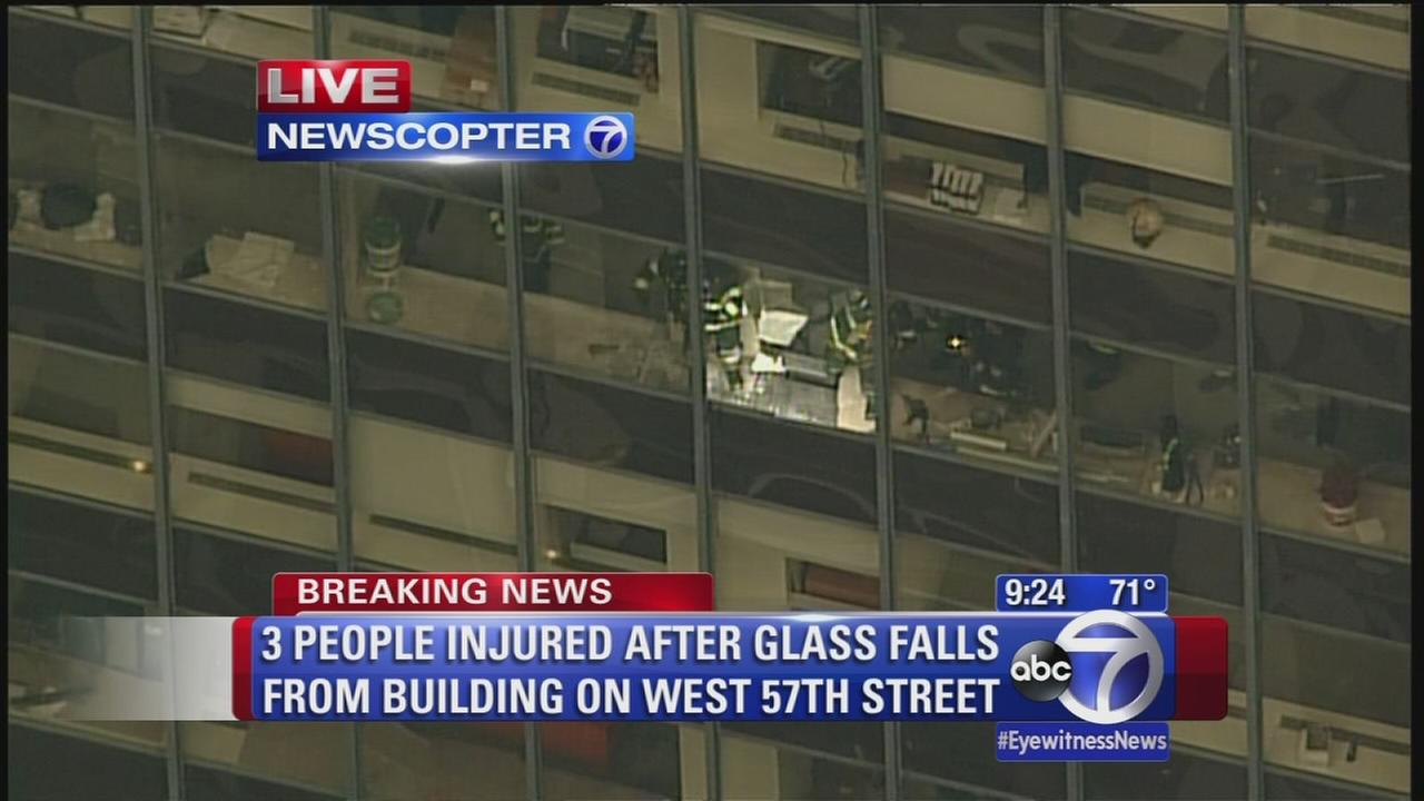 3 injured when window falls out of midtown building