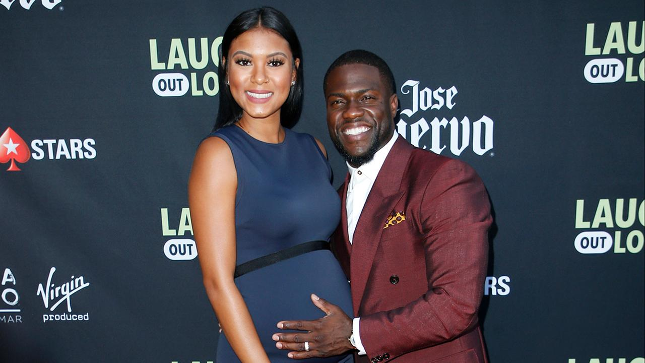 Kevin Hart and his wife Eniko Parrish pose at Kevin Harts Laugh Out Loud new streaming video network launch event at the Goldstein Residence on in Beverly Hills on Aug. 3, 2017