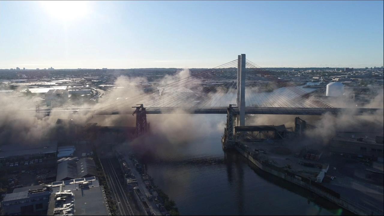Drone footage of bridge demolition