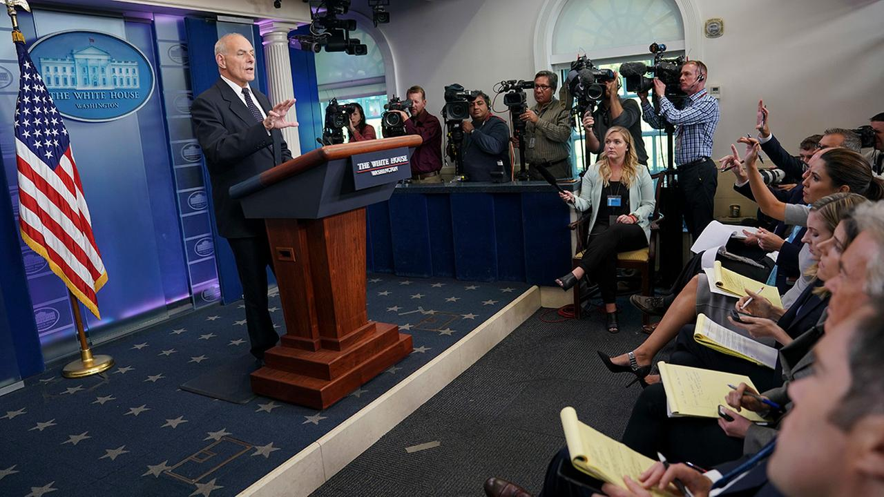 White House Chief of Staff John Kelly speaks to the media during the daily briefing in the Brady Press Briefing Room of the White House in Washington, Thursday, Oct. 19, 2017.