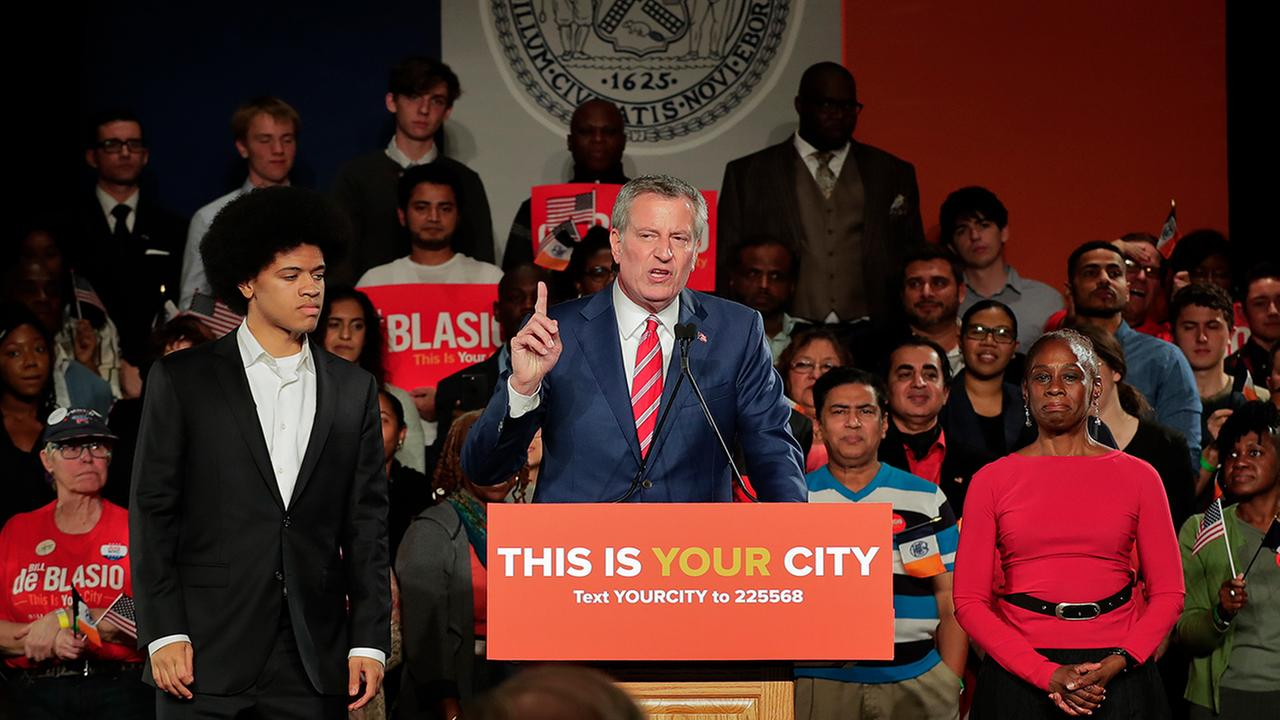 New York City Mayor Bill de Blasio speaks during his election night victory gathering, Tuesday, Nov. 7, 2017, in New York. (AP Photo/Julie Jacobson)