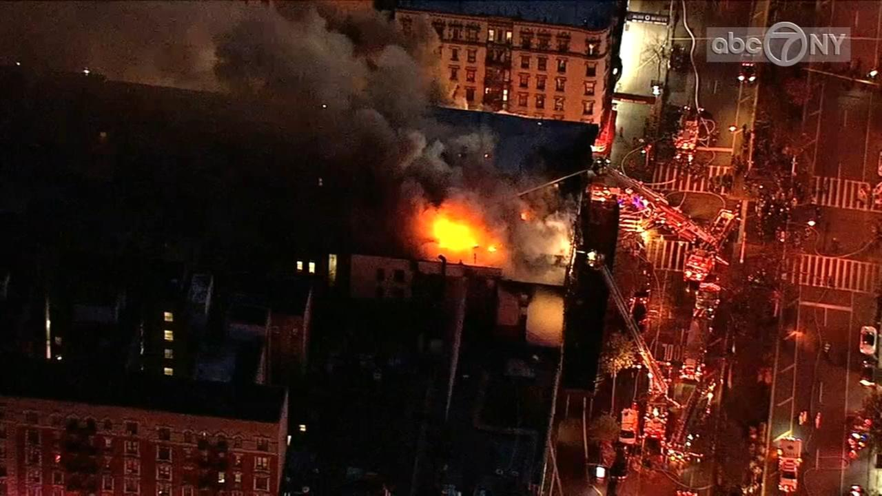 Raw video: Aerial views of massive fire in Upper Manhattan