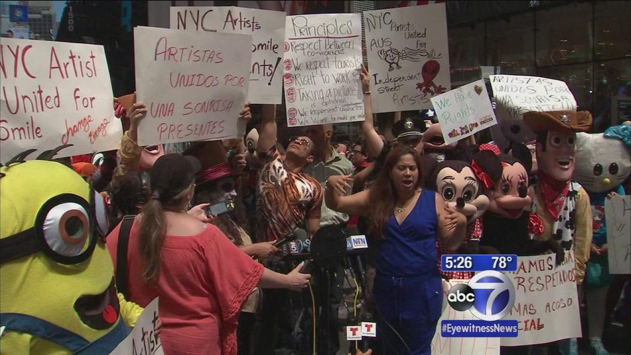 Times Square characters rally against NYPD treatment
