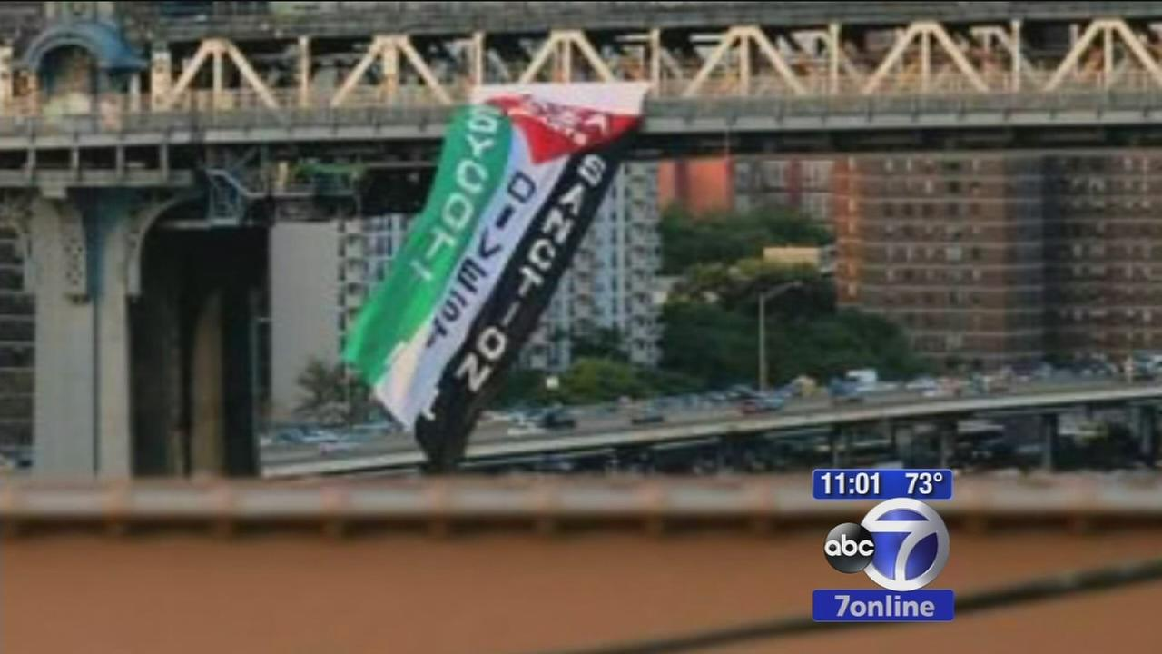 Pleasrinian flag appears hanging from Manhattan Bridge