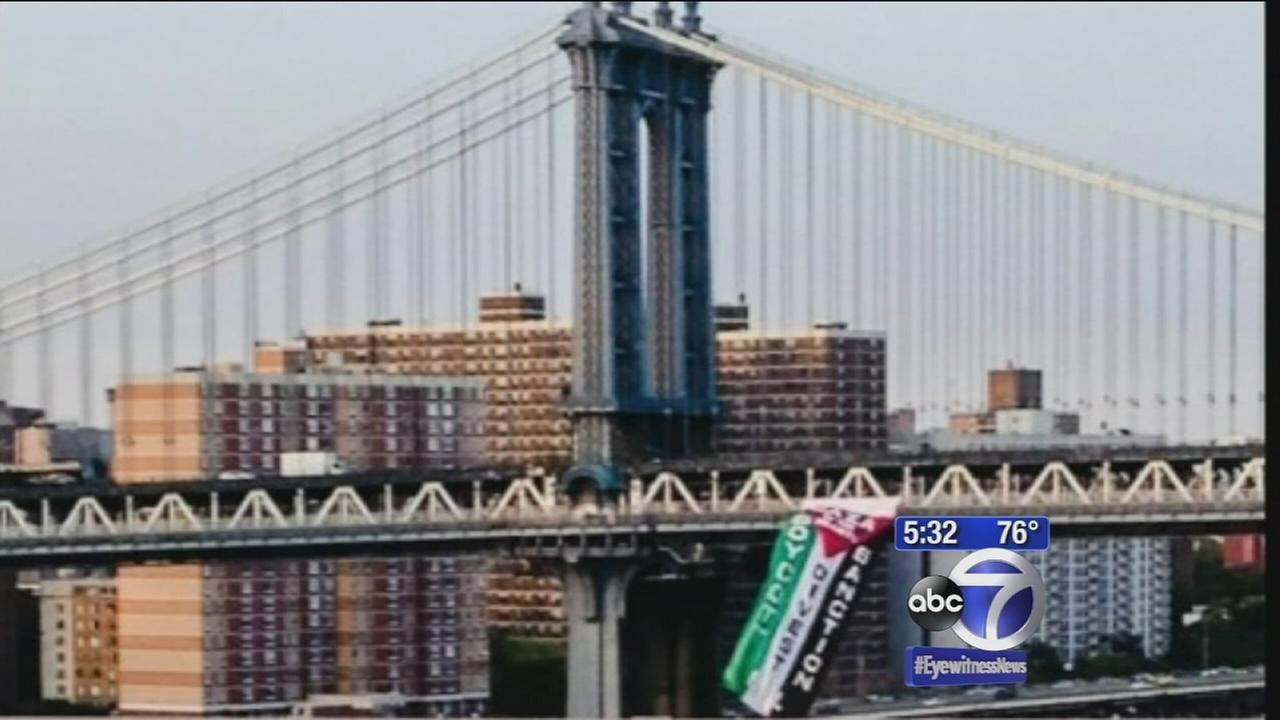 Security concers arise after flag hangs from Manhattan Bridge