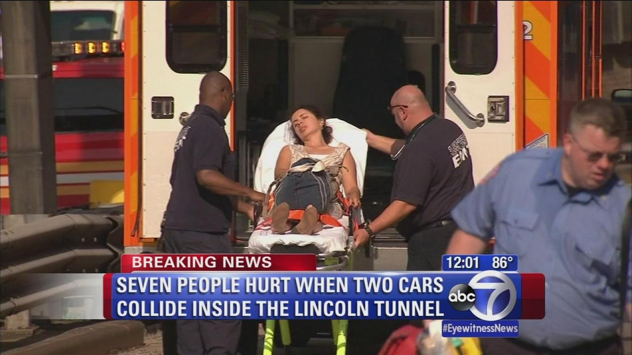 Seven people hurt in Lincoln Tunnel crash