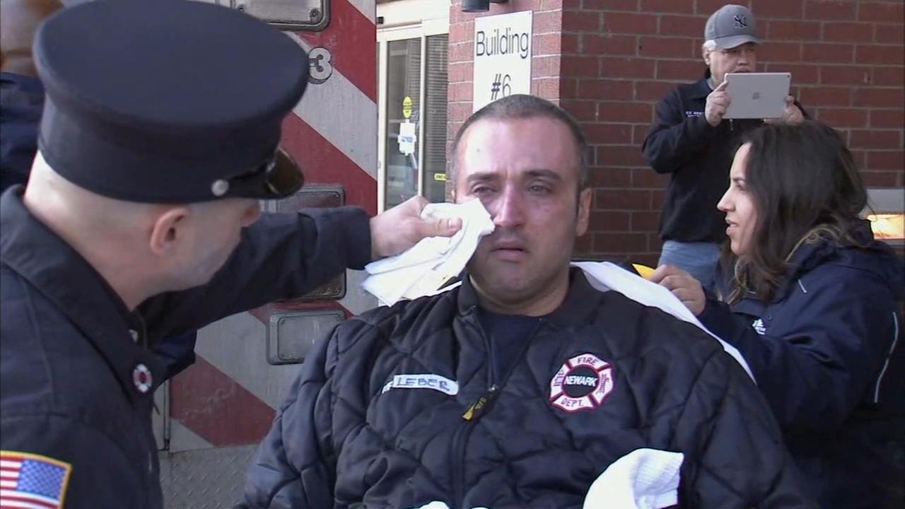 Raw video: Newark firefighter released from hospital