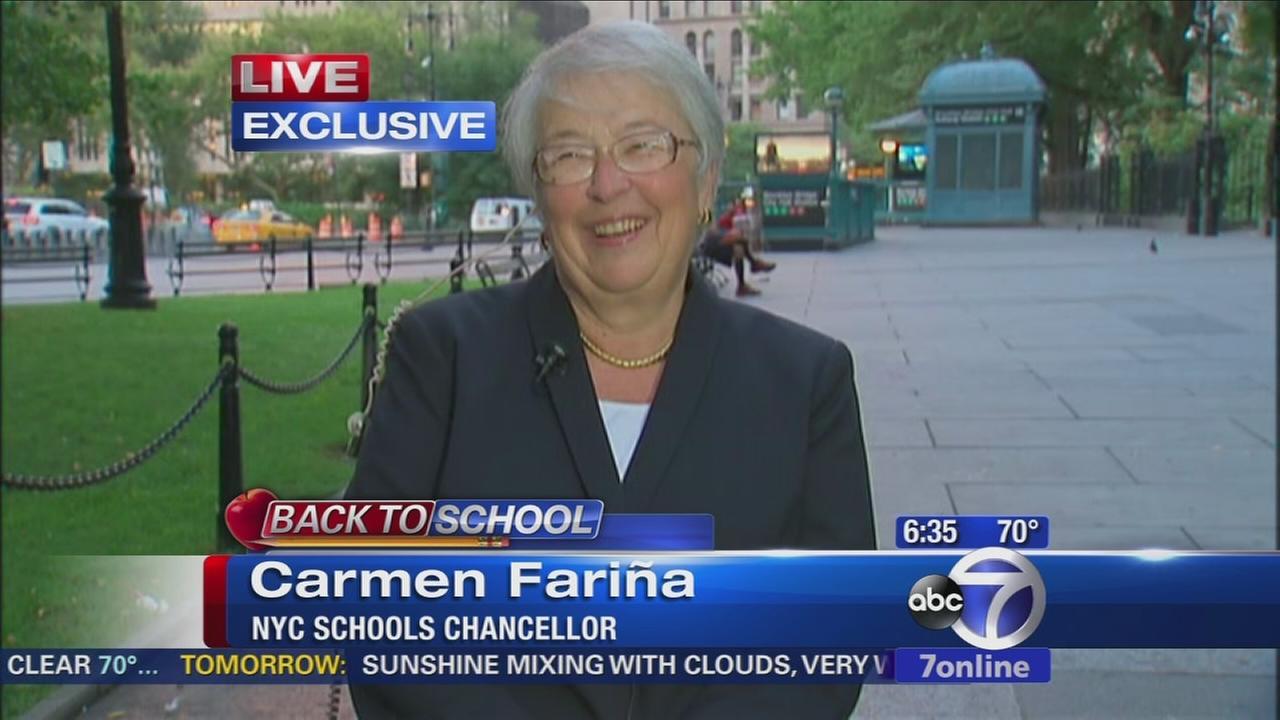 Schools Chancellor Carmen Farina talks to Eyewitness News