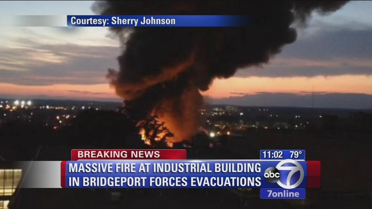 Massive fire burning in Bridgeport industrial building