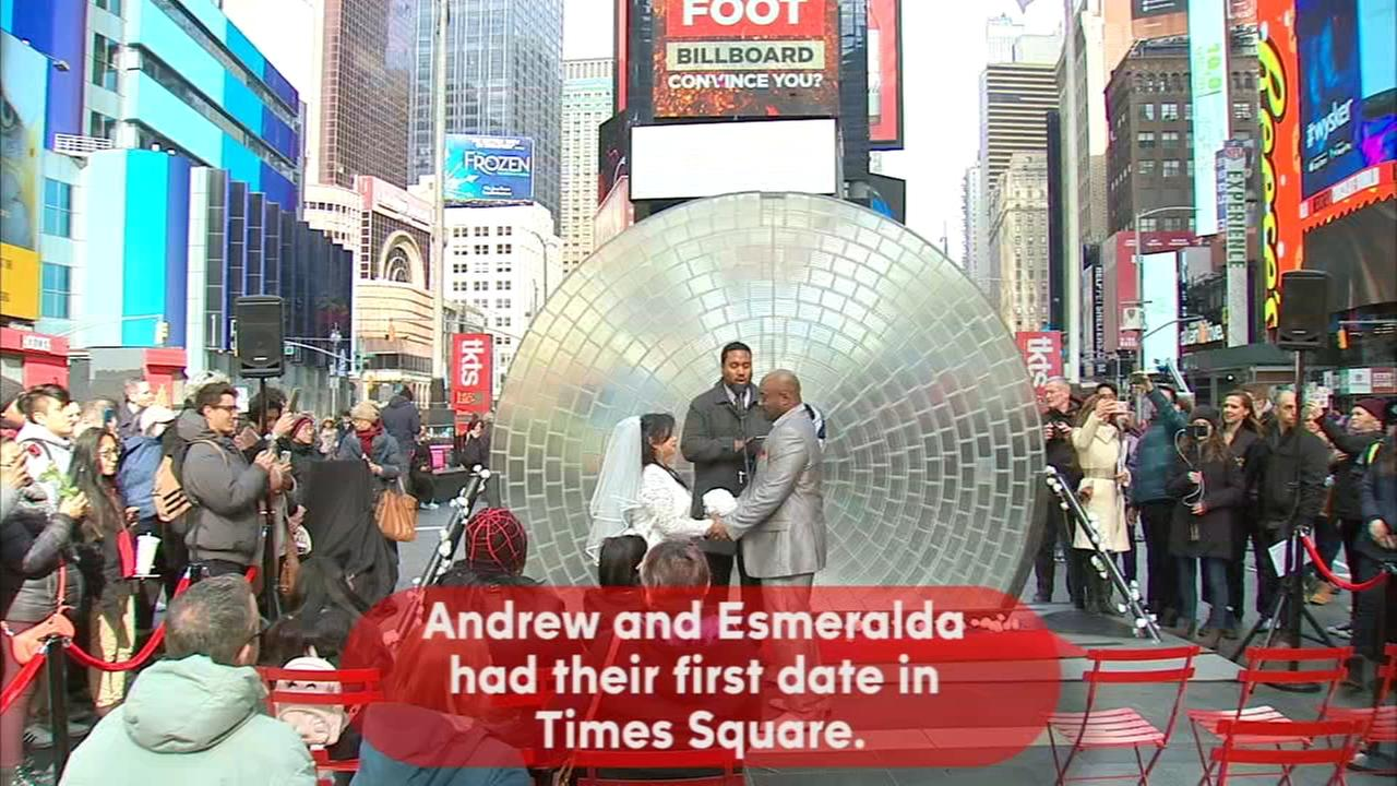 Weddings, proposals in Times Square for Valentines Day