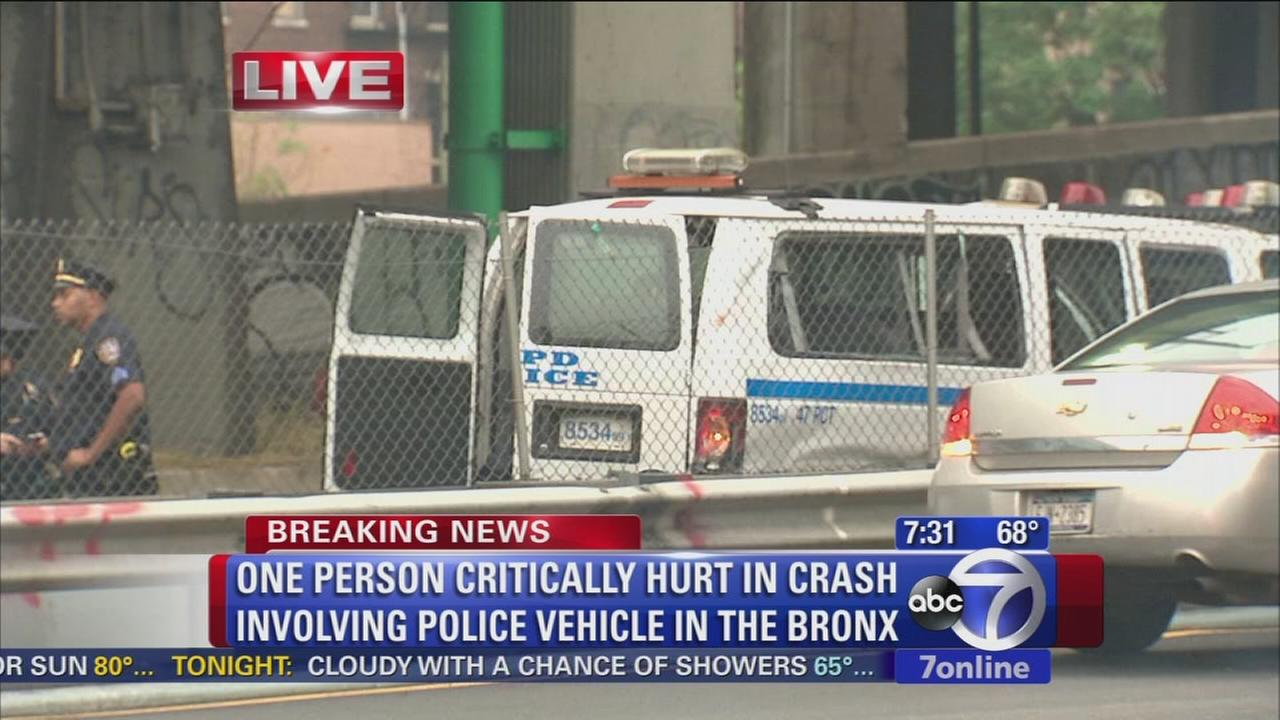 Police van crashes in the Bronx