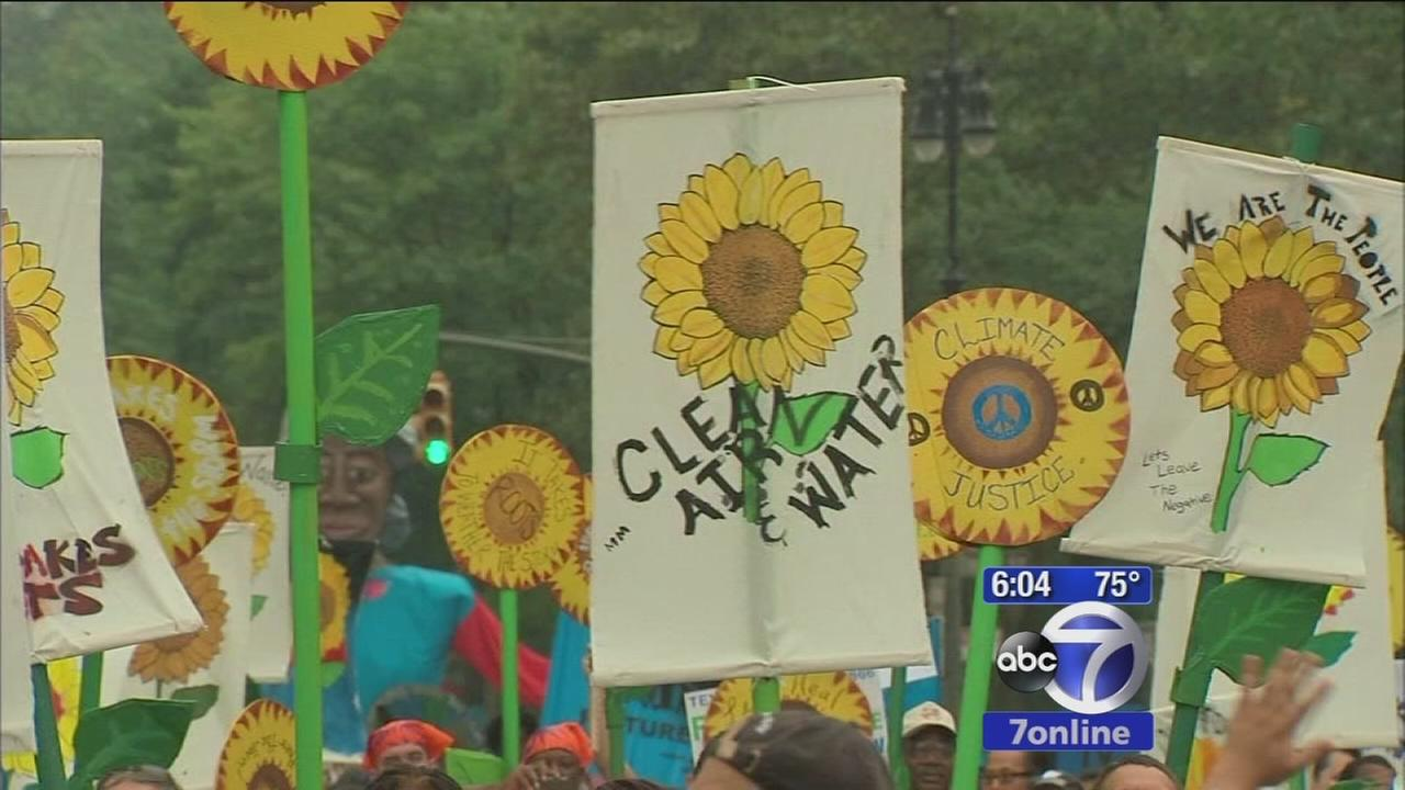 Thousands take to streets in New York City for climate change march; de Blasio unveils new greenhouse gas reduction plan