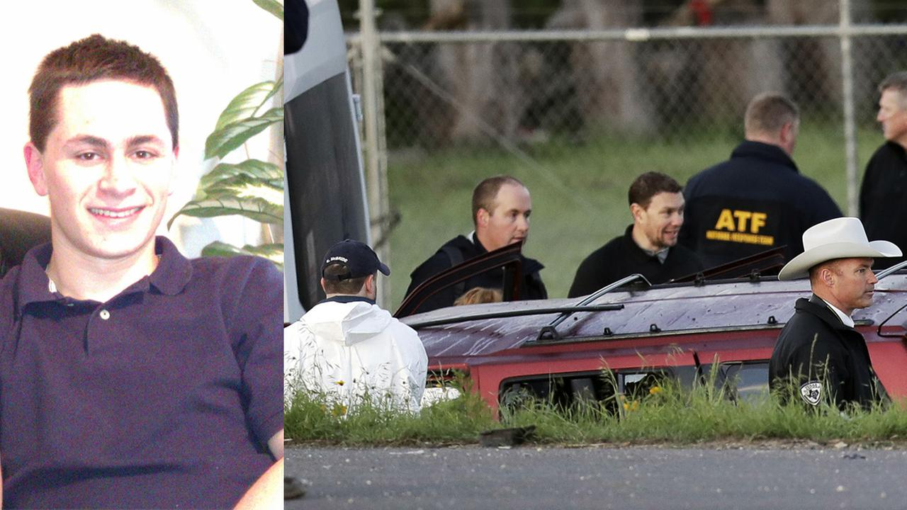 Left - Suspect Mark Conditt; Right - Officials investigate the scene where the Austin bombing suspect blew himself up as authorities closed in Wednesday morning.