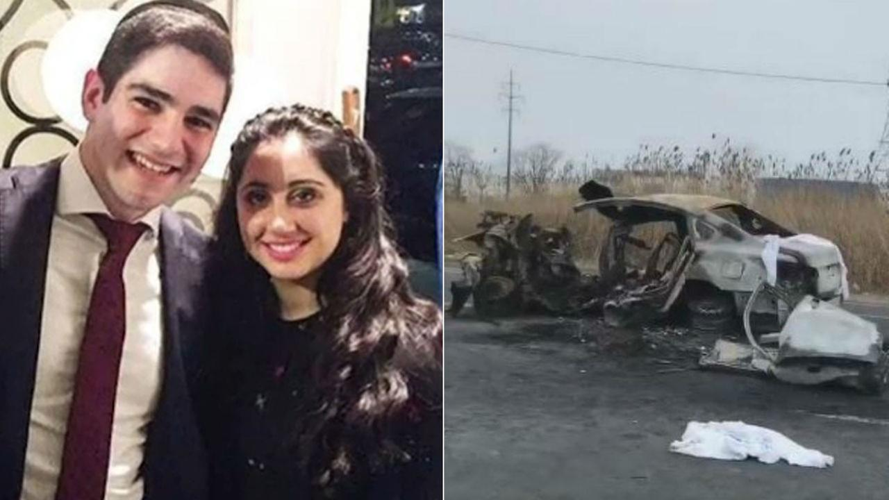 Victims Yisroel Levin and Elisheva Basya Kaplan, and the crash scene