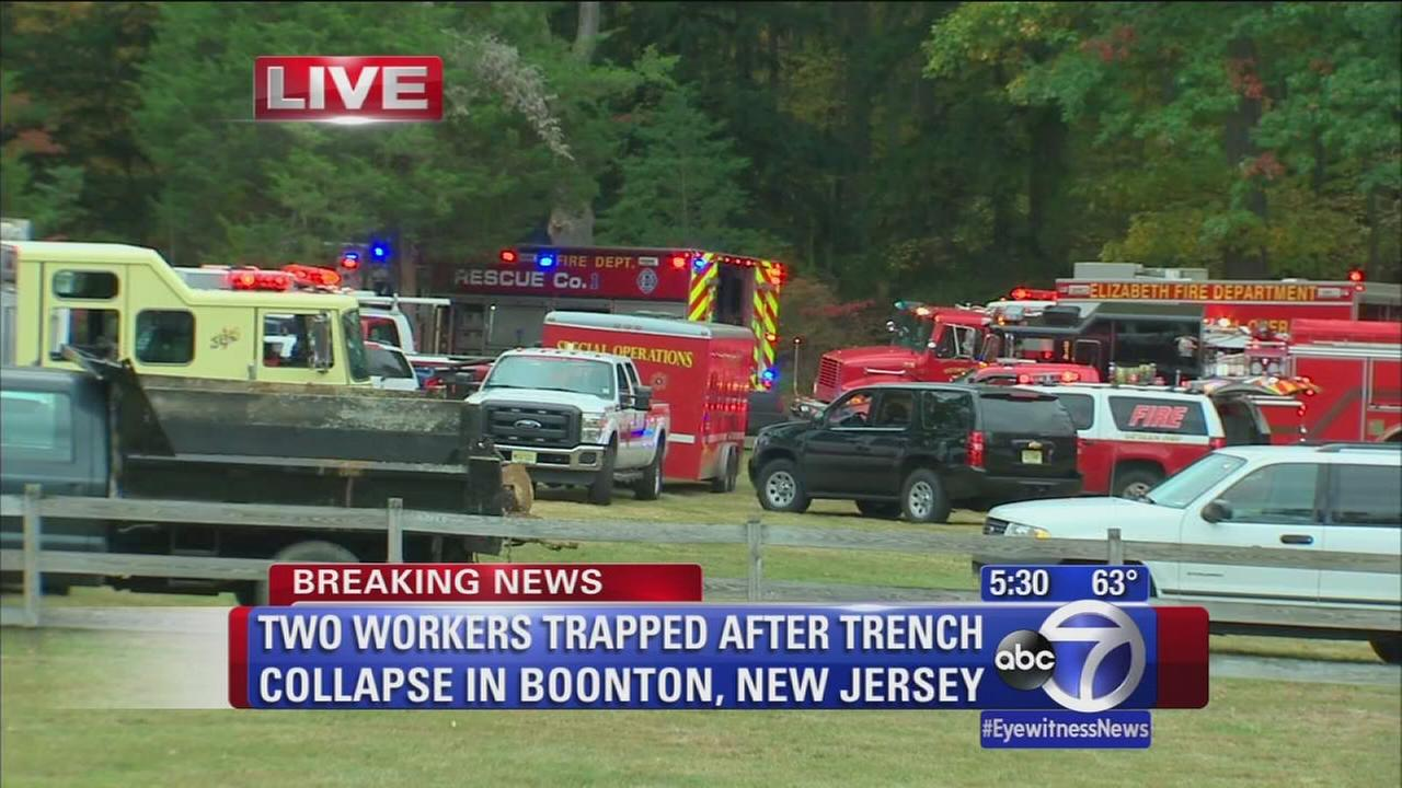 2 workers trapped after NJ trench collapse