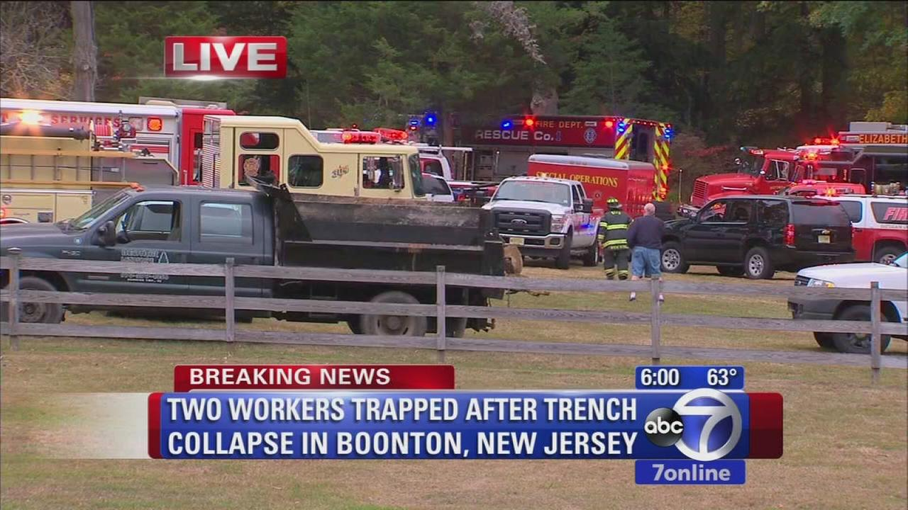 2 construction workers trapped in NJ trench collapse