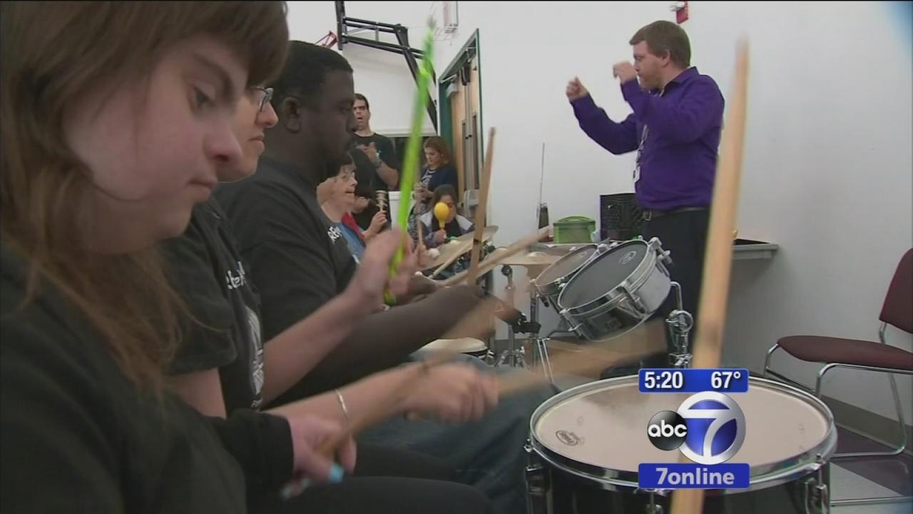 Band made up of people with special needs marching in Columbus Day Parade