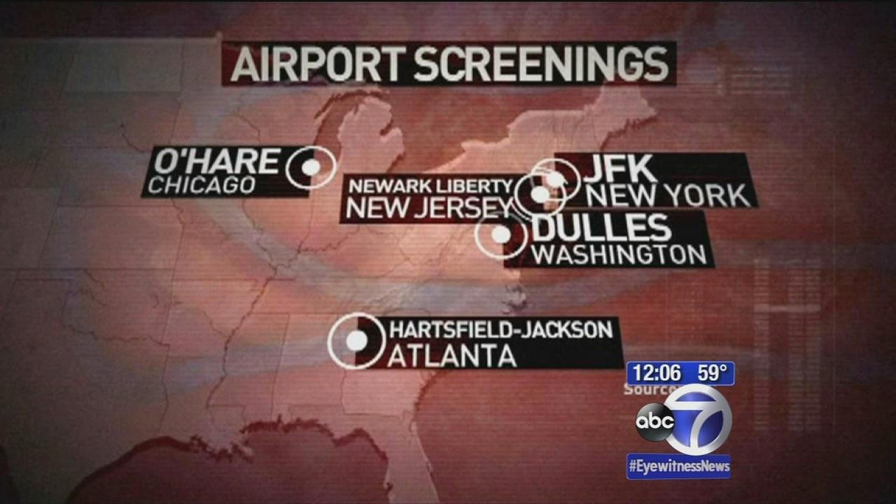 Five airports to begin screening for Ebola virus