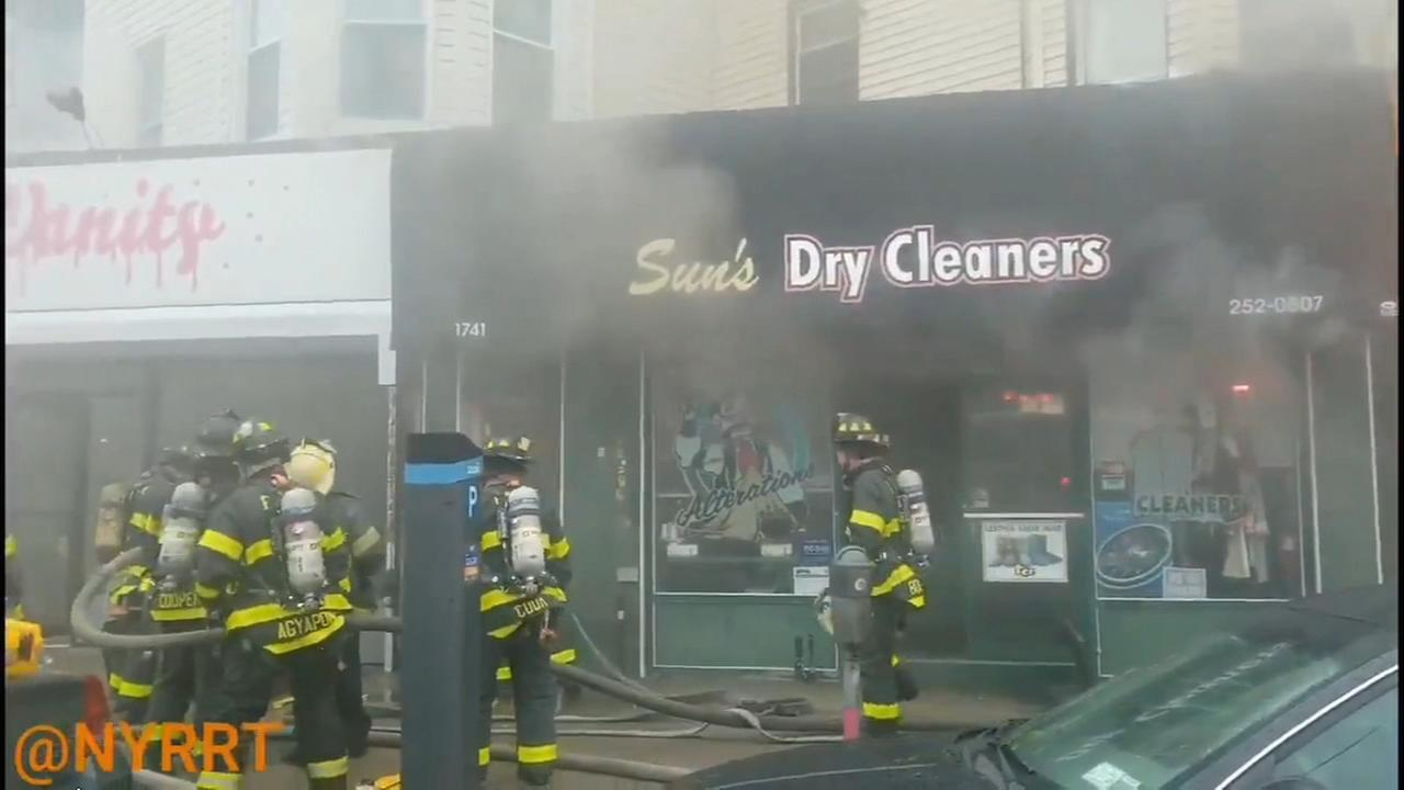 2 injured when row of stores catch fire in Brooklyn