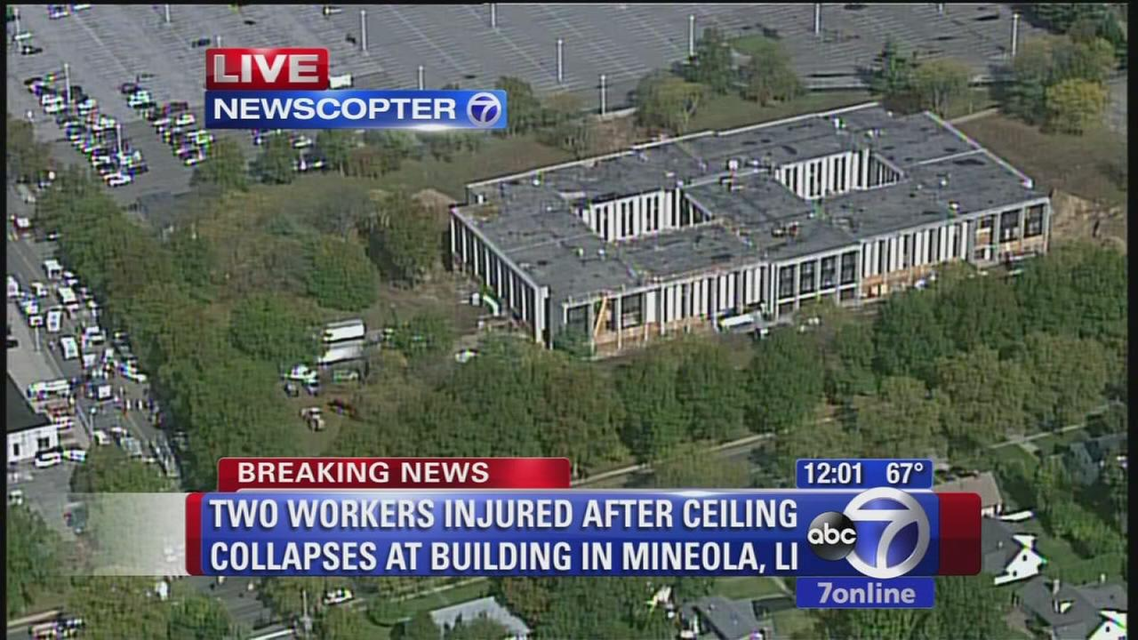 Workers trapped after ceiling collapse on Long Island