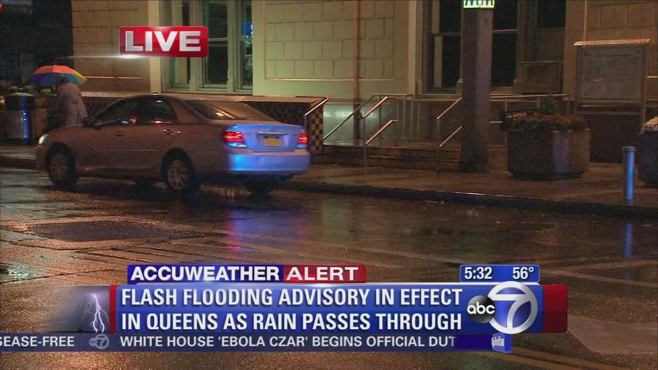 Rainy weather leading to flooding in Queens