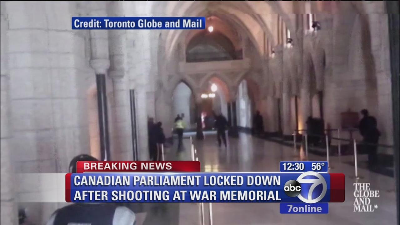 Canadian Parliament building on lockdown amid shootings