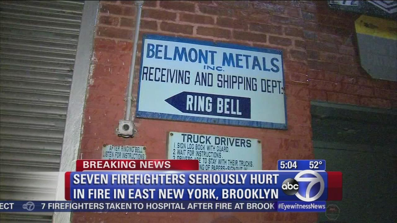 7 firefighters hurt in factory blaze
