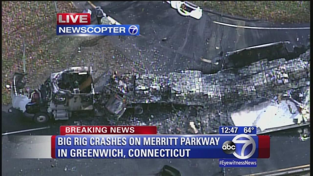 Truck crashes in Greenwich, Conn.