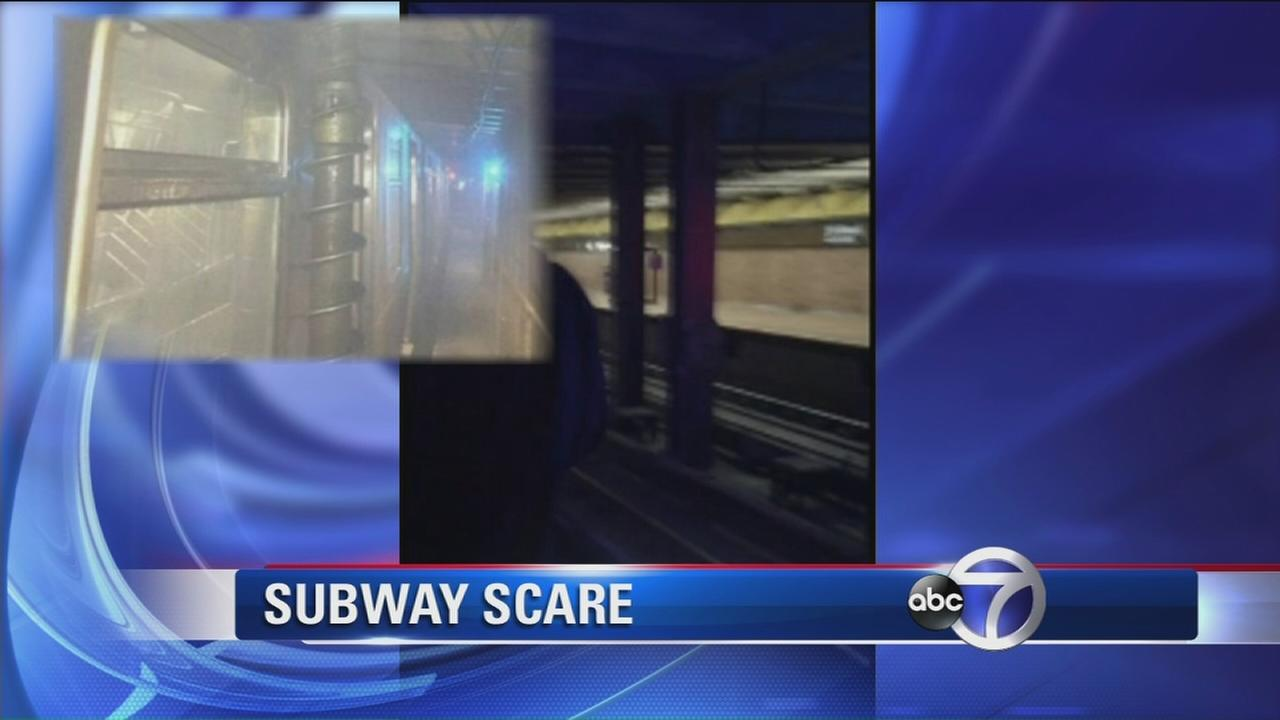 Giant drill almost goes through subway train