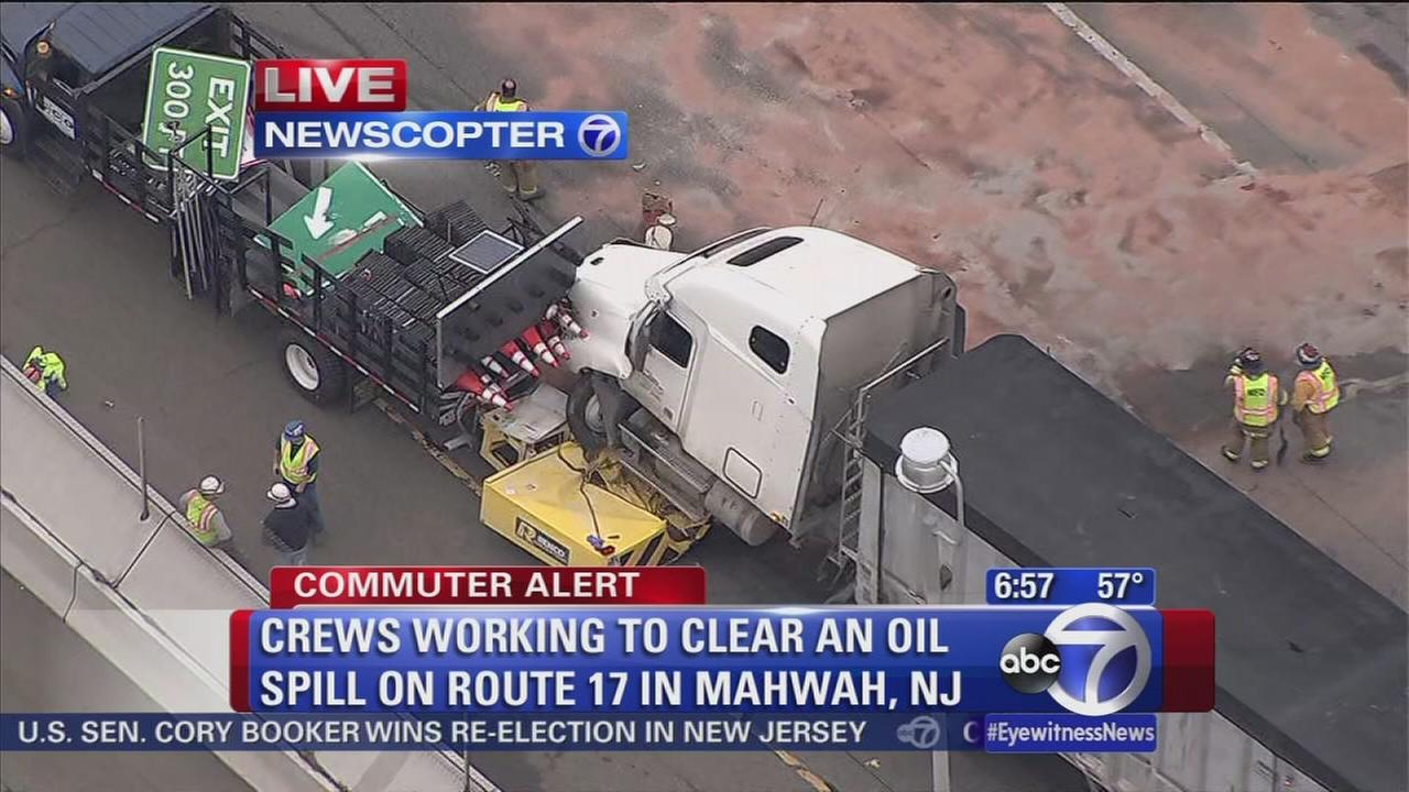 Wreck on Route 17 dumps fuel onto road in Mahwah