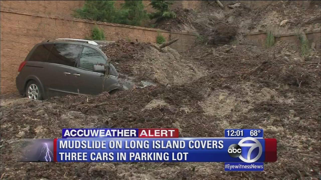 Mudslide covers cars on Long Island