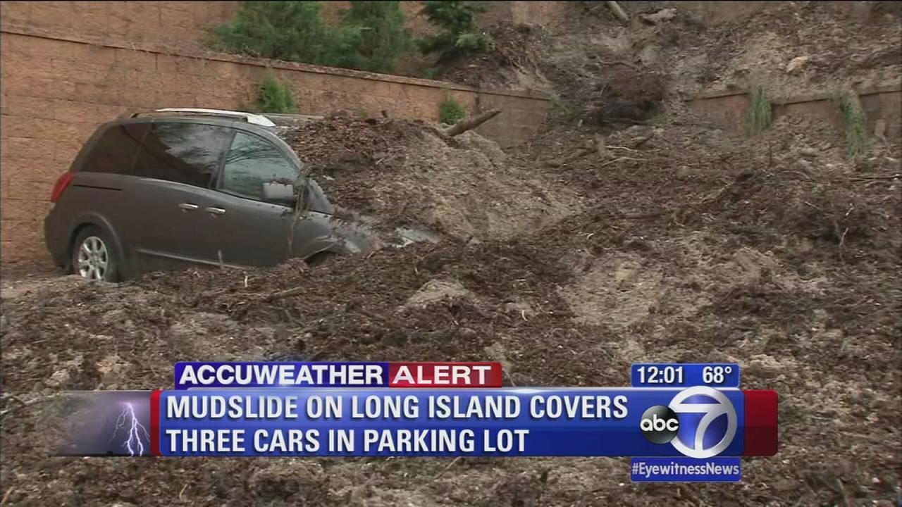 Mudslide covers cars on Long Island