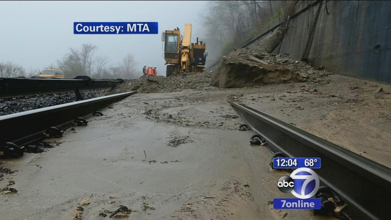 Mudslide causes train trouble in Yonkers
