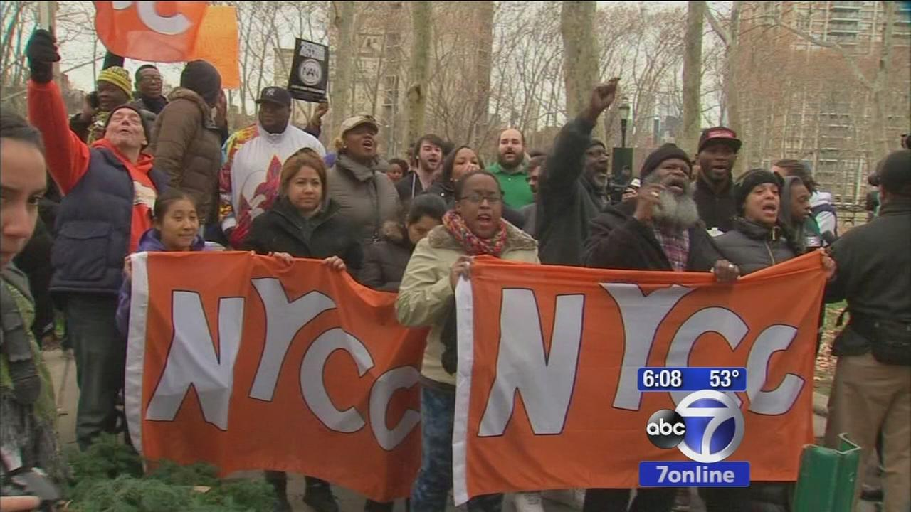 Angry reaction to Ferguson decision in NYC