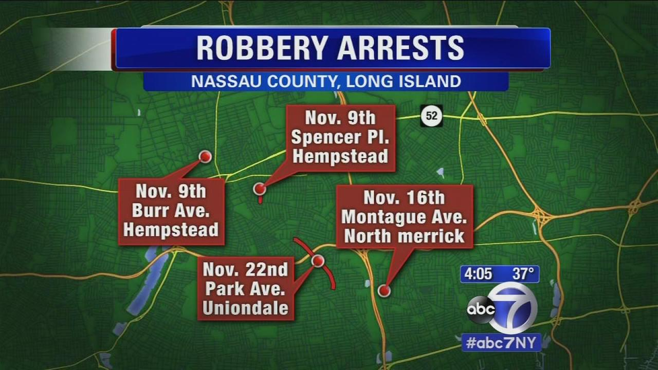 Hempstead police charge 2 with 5 robberies and a home invasion