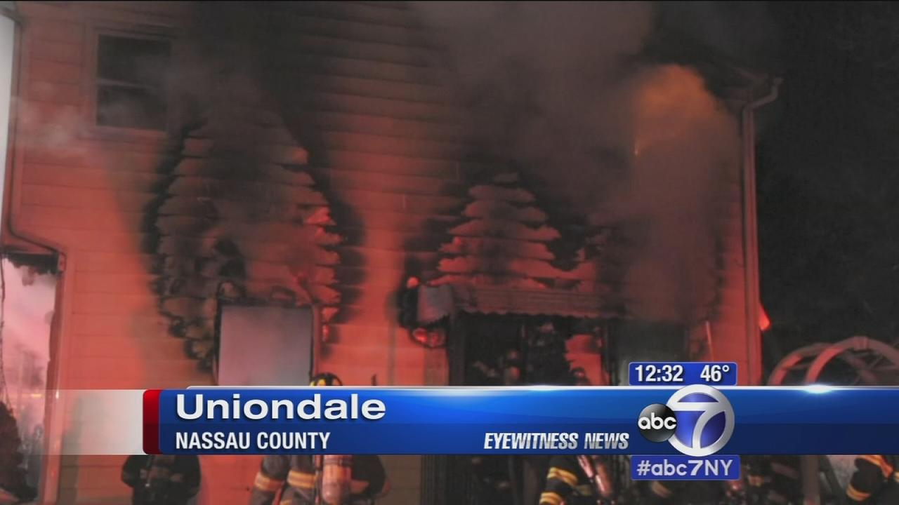 Cop rescues resident from fire in illegally subdivided home in Uniondale