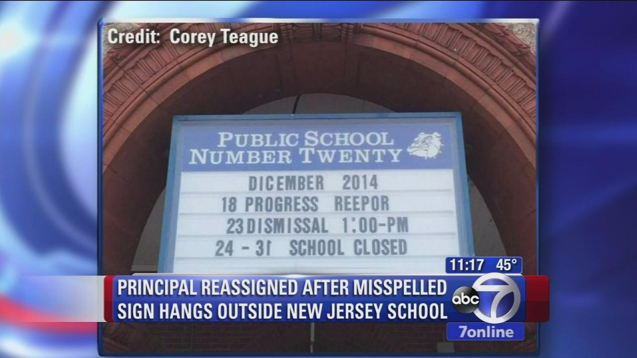 Sign misspelled outside of New Jersey school