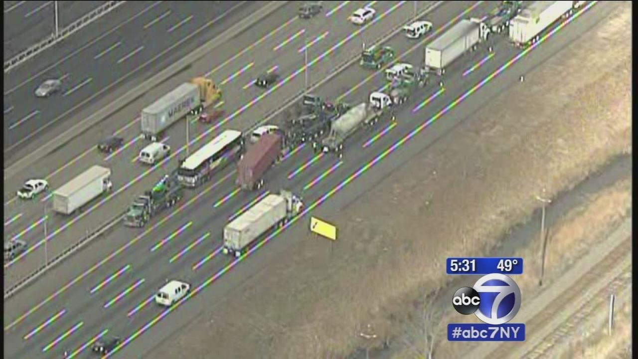 New Jersey Transit bus, 3 tractor trailers collide on Turnpike in Linden