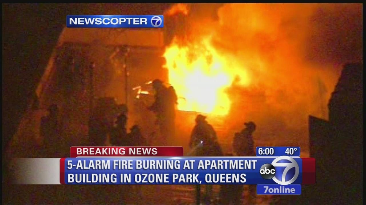 5-alarm fire burns through Queens apartment causing traffic, subway delays