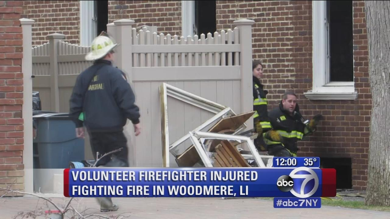 Firefighter critically injured from fall while battling fire in Woodmere, Long Island