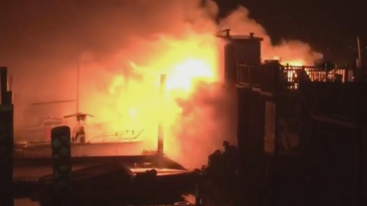 Raw video of Port Washington marina fire