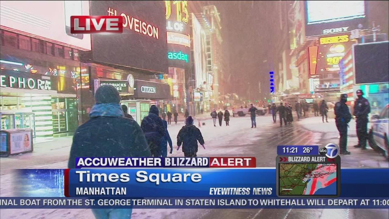 Times Square quiet during snowstorm