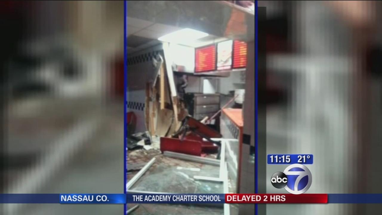 Thieves smash truck into restaurant to steal ATM in Newark