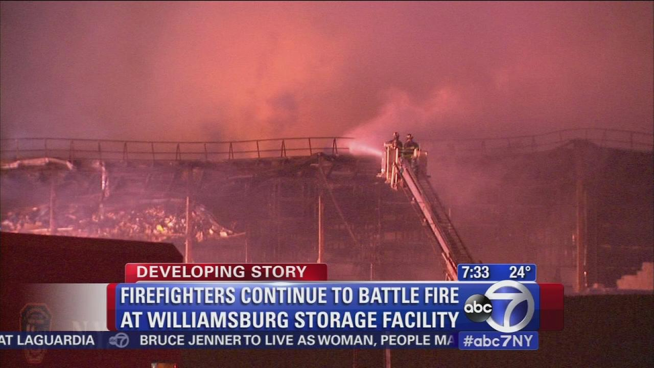 Firefighters continue to battle Brooklyn blaze