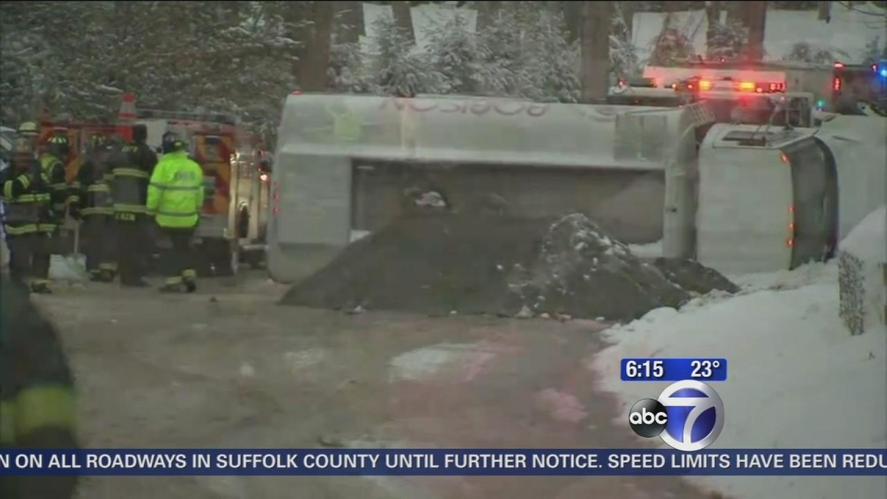 Emergency crews on the scene of overturned tanker in Bedford Hills