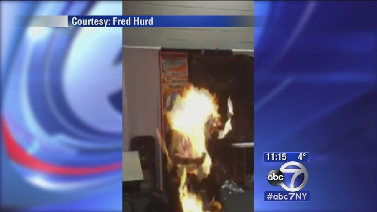 Illusionists clothes catch on fire during stunt