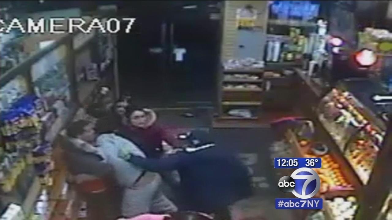 Wild brawl in Bronx deli