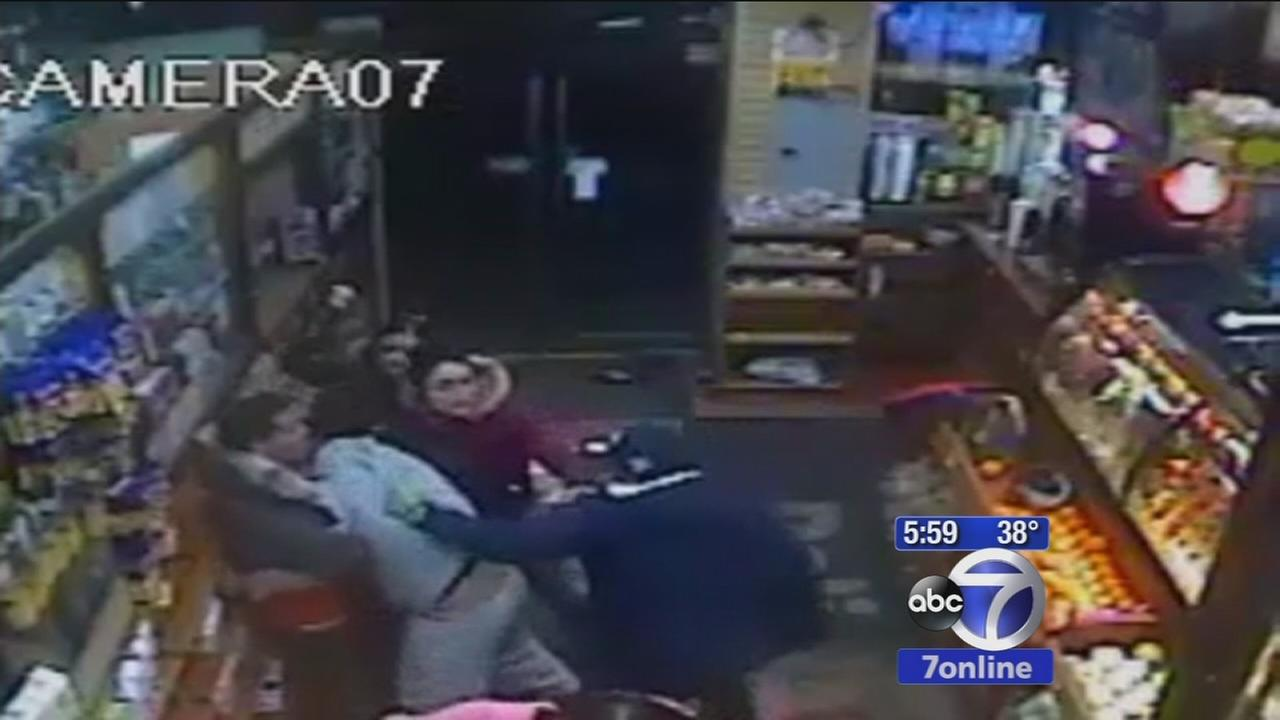 Police searching for 7 in wild Bronx deli brawl