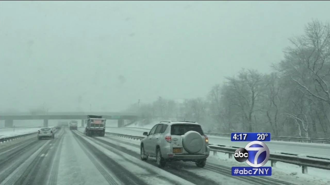 Snow makes for treacherous driving in New Jersey